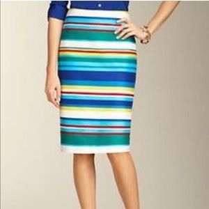 Talbots Striped Multi Color Pencil Skirt